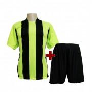 Fardamento Completo modelo Milan Verde Lim�o/Preto 12+1 (12 camisas + 12 cal��es + 13 pares de mei�es + 1 conjunto de goleiro) - Frete Gr�tis Brasil + Brindes