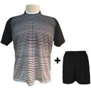 0b077a5bc0 Uniforme Esportivo com 18 camisas modelo City Preto Branco + 18 calções  modelo Madrid +