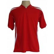 Jogo de Camisa modelo M�naco 18 pe�as Vermelho/Branco - Frete Gr�tis Brasil + Brindes