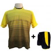 2909644ac Uniforme Esportivo com 18 camisas modelo City Amarelo Preto + 18 calções  modelo Copa Preto