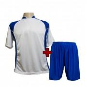 Uniforme Esportivo Completo modelo Su�cia Branco/Royal 14+1 (14 camisas + 14 cal��es + 15 pares de mei�es + 1 conjunto de goleiro) - Frete Gr�tis Brasil + Brindes