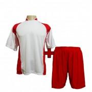 Uniforme Esportivo Completo modelo Su�cia Branco/Vermelho 14+1 (14 camisas + 14 cal��es + 15 pares de mei�es + 1 conjunto de goleiro) - Frete Gr�tis Brasil + Brindes