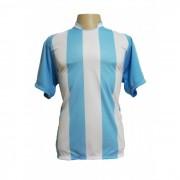 Uniforme Esportivo - Jogo de Camisa modelo Milan com 12 pe�as Celeste/Branco + 1 Camisa de Goleiro - PlayFair - Frete Gr�tis Brasil + Brindes