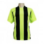 Uniforme Esportivo - Jogo de Camisa modelo Milan com 12 pe�as Lim�o/Preto + 1 Camisa de Goleiro - PlayFair - Frete Gr�tis Brasil + Brindes