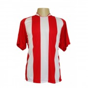 Uniforme Esportivo - Jogo de Camisa modelo Milan com 12 pe�as Vermelho/Branco + 1 Camisa de Goleiro - PlayFair - Frete Gr�tis Brasil + Brindes