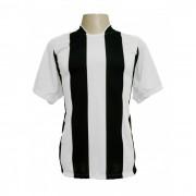 Uniforme Esportivo - Jogo de Camisa modelo Milan com 18 pe�as Branco/Preto + 1 Camisa de Goleiro - PlayFair - Frete Gr�tis Brasil + Brindes