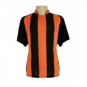 Uniforme Esportivo - Jogo de Camisa modelo Milan com 18 pe�as Preto/Laranja + 1 Camisa de Goleiro - PlayFair - Frete Gr�tis Brasil + Brindes