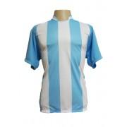 Fardamento - Jogo de Camisa modelo Milan com 12 Celeste/Branco - PlayFair - Frete Gr�tis Brasil + Brindes