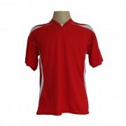Uniforme Esportivo - Jogo de Camisa modelo M�naco com 18 pe�as Vermelho/Branco + 1 Camisa de Goleiro - Kanga - Frete Gr�tis Brasil + Brindes
