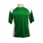 Uniforme Esportivo - Jogo de Camisa modelo Su�cia com 14 pe�as Verde/Branco + 1 Camisa de Goleiro - PlayFair - Frete Gr�tis Brasil + Brindes