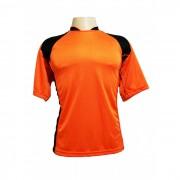 Uniforme Esportivo - Jogo de Camisa modelo Su�cia com 14 pe�as Laranja/Preto + 1 Camisa de Goleiro - PlayFair - Frete Gr�tis Brasil + Brindes