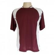 Uniforme Esportivo - Jogo de Camisa modelo Su�cia com 14 pe�as Vinho/Branco + 1 Camisa de Goleiro - Frete Gr�tis Brasil + Brindes