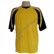 Uniforme Esportivo - Kit modelo F�nix Camisa e Cal��o 12 Pe�as Amarelo/Preto + 1 Camisa de Goleiro - Kanga - Frete Gr�tis Brasil + Brindes