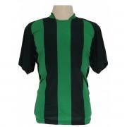 Uniforme Esportivo - Jogo de Camisa modelo Milan com 18 pe�as Preto/Verde + 1 Camisa de Goleiro - PlayFair - Frete Gr�tis Brasil + Brindes