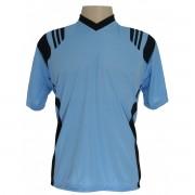 Uniforme Esportivo - Jogo de Camisa modelo Roma Com 18 pe�as Celeste/Preto + 1 Camisa de Goleiro - Frete Gr�tis Brasil + Brindes