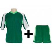 Uniformes Esportivos - Kit modelo Texas Camisa e Cal��o 12 Pe�as Verde/Lim�o/Branco - Frete Gr�tis Brasil + Brindes