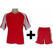 Uniformes Esportivos - Kit modelo Texas Camisa e Cal��o 12 Pe�as Vermelho/Dourado/Branco - Frete Gr�tis Brasil + Brindes