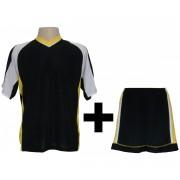 Fardamento Modelo Texas Camisa e Cal��o 18 Pe�as Preto/Amarelo/Branco - Frete Gr�tis Brasil + Brindes