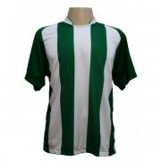 Uniforme Esportivo - Jogo de Camisa modelo Milan com 12 pe�as Verde/Branco + 1 Camisa de Goleiro - Frete Gr�tis Brasil + Brindes