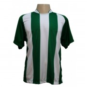 Uniforme Esportivo - Jogo de Camisa modelo Milan com 18 pe�as Verde/Branco + 1 Camisa de Goleiro - Frete Gr�tis Brasil + Brindes