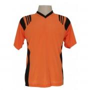 Uniforme Esportivo - Jogo de Camisa modelo Roma com 12 pe�as Laranja/Preto + 1 Camisa de Goleiro - Frete Gr�tis Brasil + Brindes