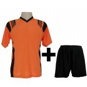 Fardamento Completo modelo Roma Laranja/Preto 12+1 (12 camisas + 12 cal��es + 13 pares de mei�es + 1 conjunto de goleiro) - Frete Gr�tis Brasil + Brindes