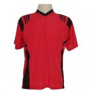 Uniforme Esportivo - Jogo de Camisa modelo Roma Com 18 pe�as Vermelho/Preto + 1 Camisa de Goleiro - Frete Gr�tis Brasil + Brindes