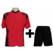 Fardamento Completo modelo Roma Vermelho/Preto 18+1 (18 camisas + 18 cal��es + 19 pares de mei�es + 1 conjunto de goleiro) - Frete Gr�tis Brasil + Brindes