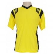 Uniforme Esportivo - Jogo de Camisa modelo Roma com 12 pe�as Amarelo/Preto + 1 Camisa de Goleiro - Frete Gr�tis Brasil + Brindes