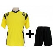 Fardamento - Jogo de Camisa modelo Roma Amarelo/Preto + Cal��o Preto com 12 pe�as - Frete Gr�tis Brasil + Brindes