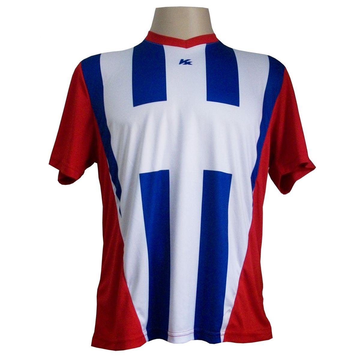 Jogo de camisa Profissional Carami com 14  Branco/Vermelho/Royal -  Frete Gr�tis Brasil + Brindes