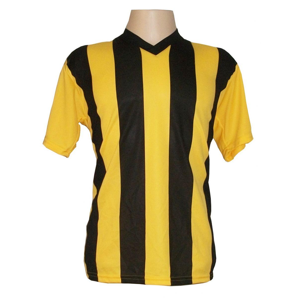 Jogo de Camisa Arizona 14 pe�as Amarelo/Preto - Listrado Frente e Costas - Frete Gr�tis + Brindes
