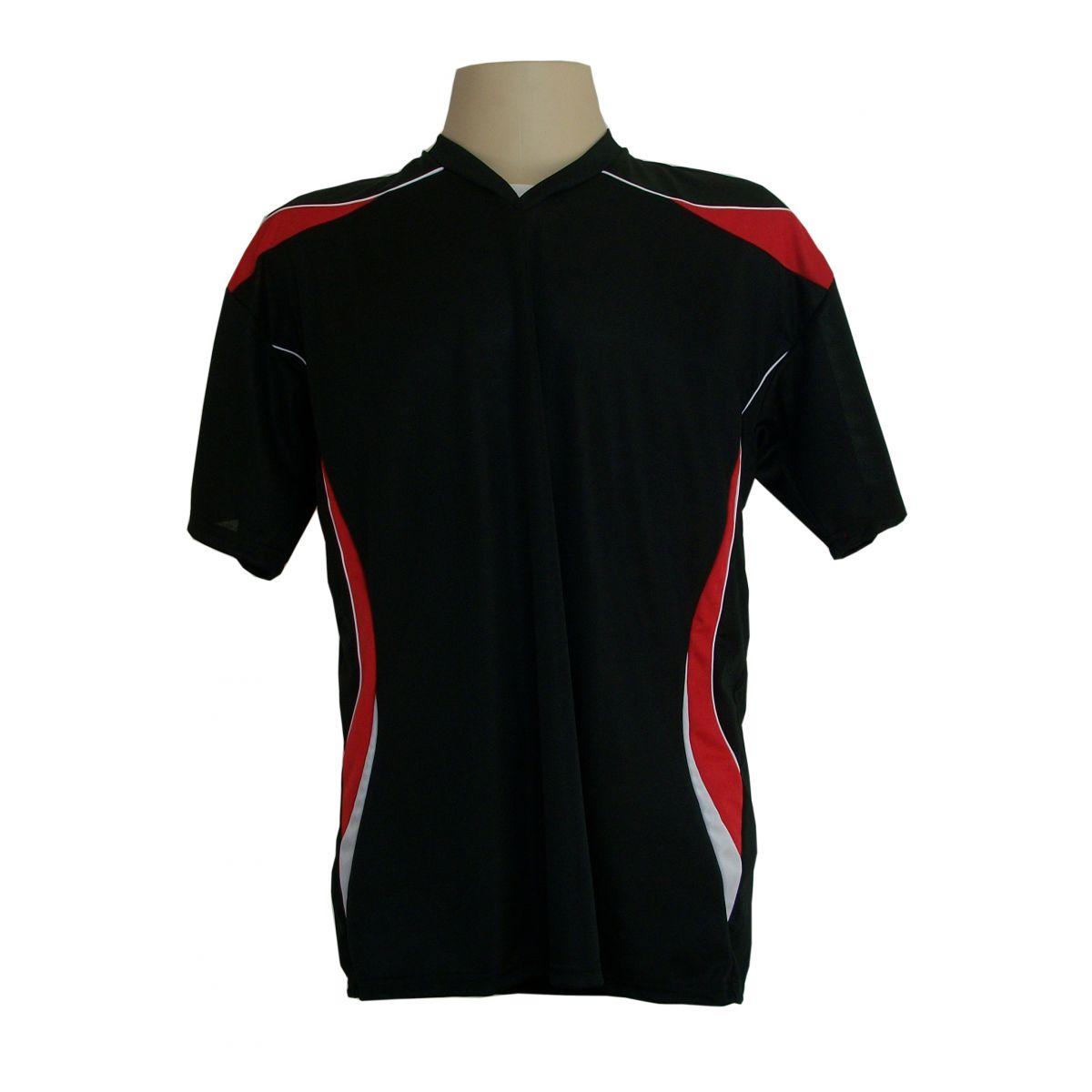 Jogo de Camisa M�naco com 18 pe�as Preto/Vermelho/Branco - Frete Gr�tis Brasil + Brindes