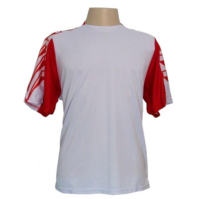 Jogo de camisa Kanxa Profissional Udine com 18 Branco/Vermelho - Frete Gr�tis Brasil + Brindes