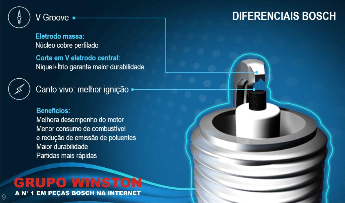 Velas Originais Bosch VW Ap 1.6 1.8 Alc Carburado F000KE0P16 consulte a aplicação