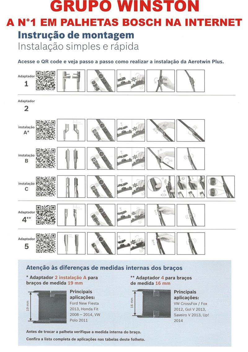 PALHETA LIMPADOR DE PARABRISA AEROTWIN BOSCH AP VOLVO C 30 S40 II S60 II S80 II V50 V60 XC60 XC70II