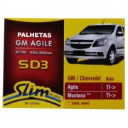 Par Palhetas Limpador Parabrisas Original DYNA SD3 GM Agile / Montana 2011 em diante