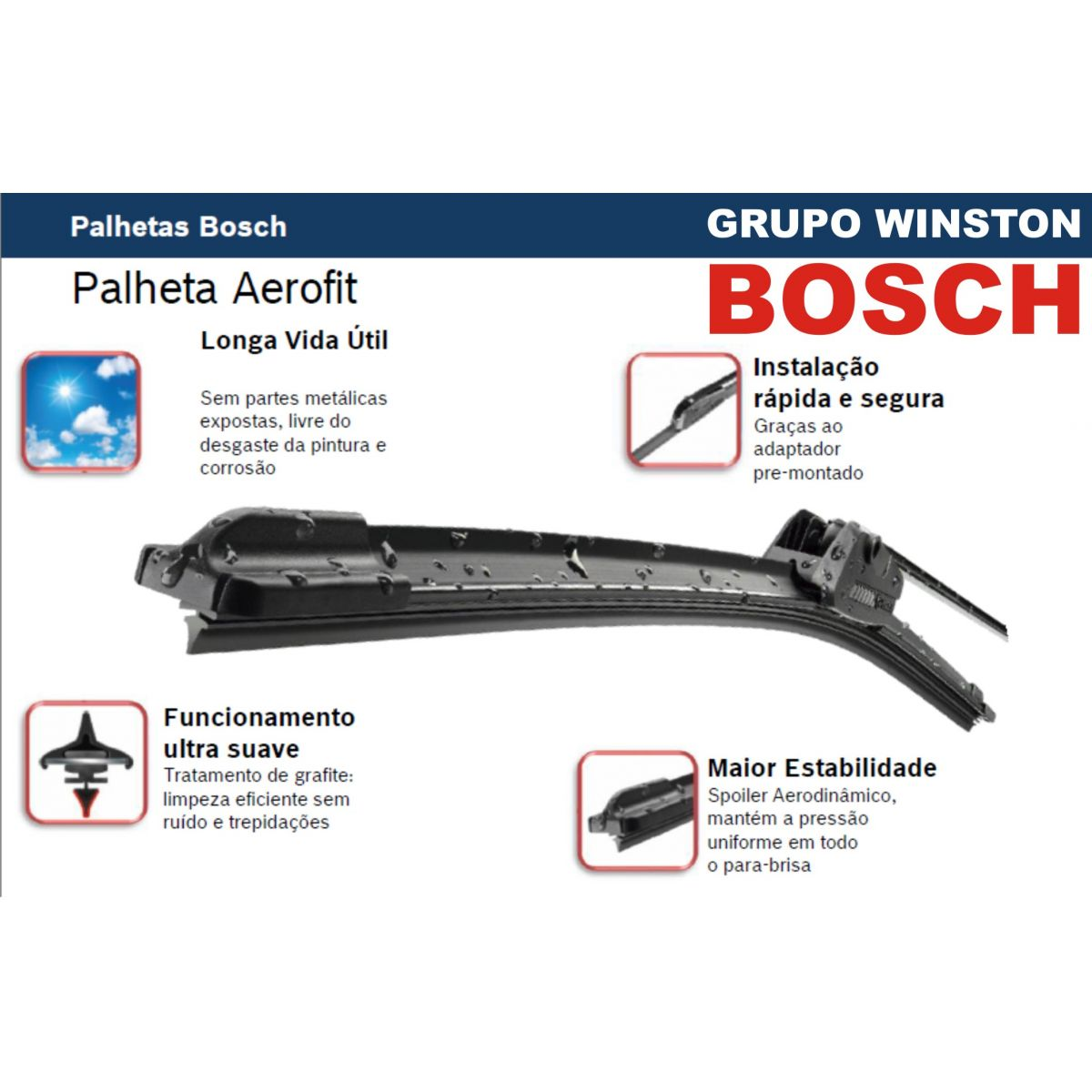 Palheta Bosch Aerofit Limpador de para brisa Bosch NISSAN Maxima Sentra III  Murano