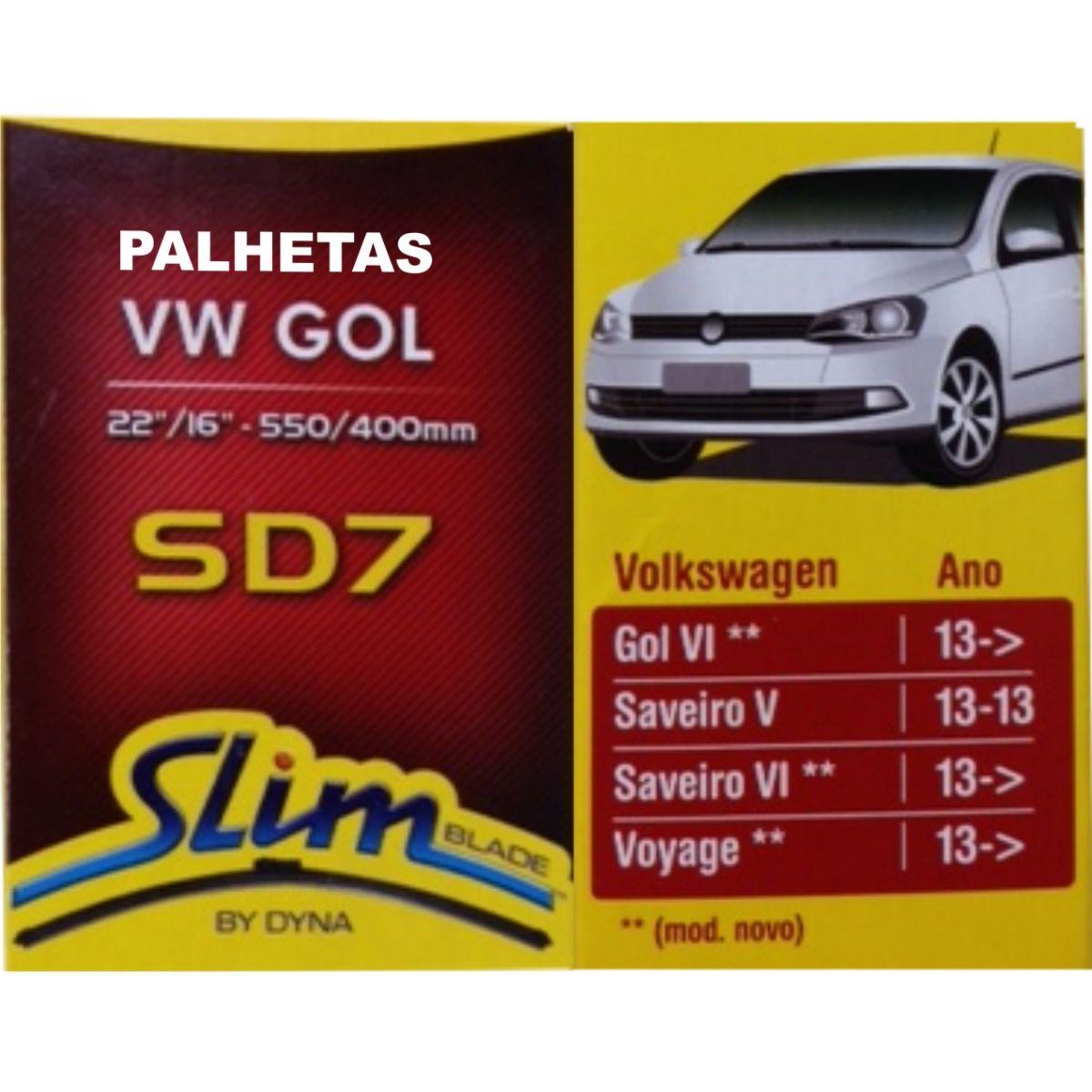 Par Palhetas Limpador Parabrisas Original DYNA SD7 VW Gol 2013 em diante