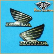 Emblema de Tanque Asa Honda Dourada - PAR