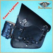 Alforge Lateral Bolsa Couro R�stico HD Softail, Shadow, Vulcan 900 C/ Porta Garrafa