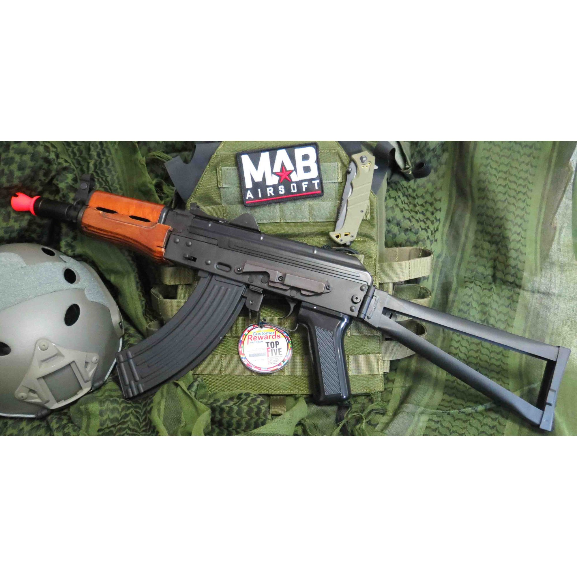 Rifle Airsoft AEG G&G AK GKS74U Full Metal e Madeira Real