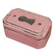 Caixa Fechadura Decorativa em Cerâmica Rosa
