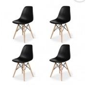 Conjunto com 4 Cadeiras  Eiffel Base Madeira Preta