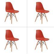 Kit  4 Cadeiras Eiffel Charles Eames Base Madeira