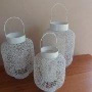 Conjunto Lanterna Marroquina Metal Branca