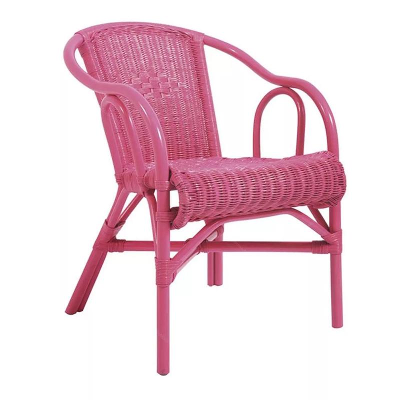 Cadeira Com Braço Vime Beach Rosa   - N Store