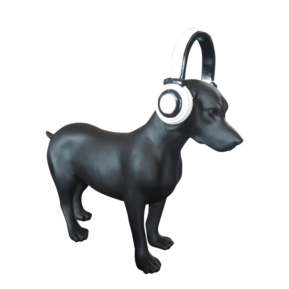 Estatueta Dog with Headphones Black - Cachorro com fone  - N Store