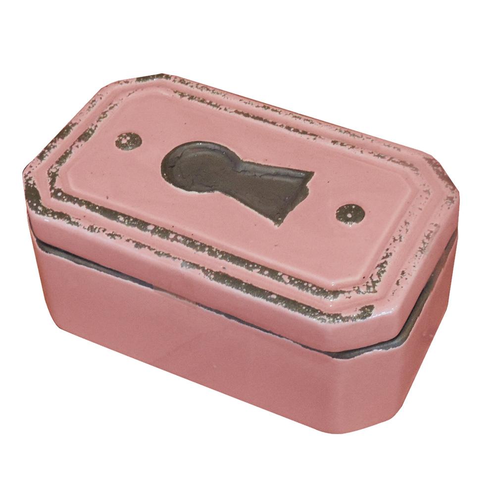 Caixa Fechadura Decorativa em Cerâmica Rosa  - N Store
