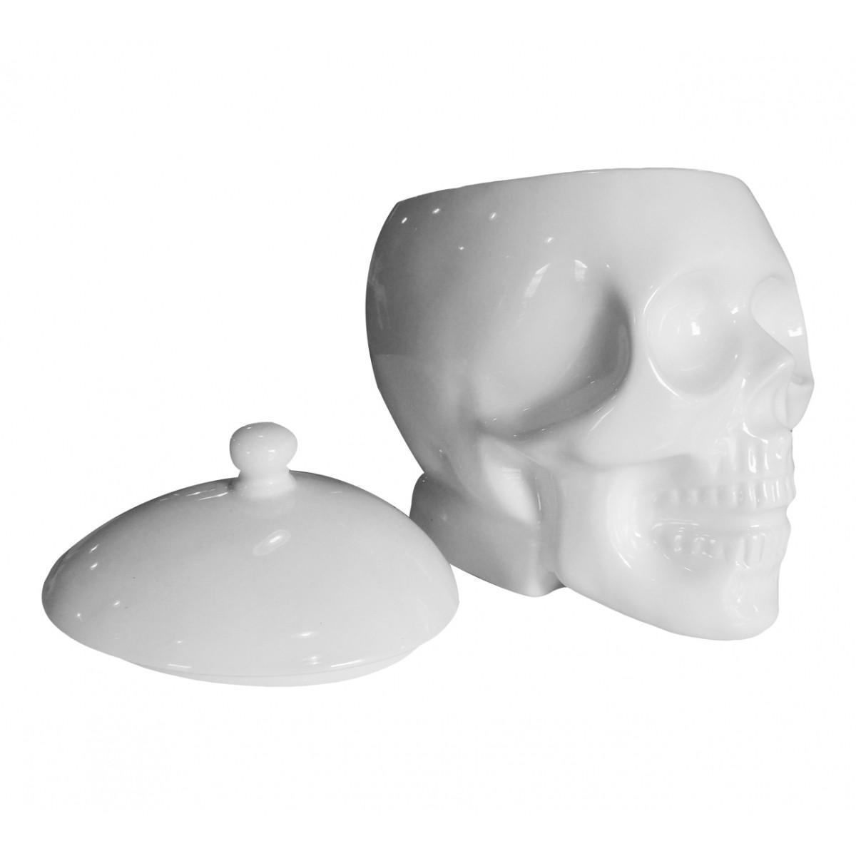 Pote Cerâmica com Tampa Crânio Branco  - N Store
